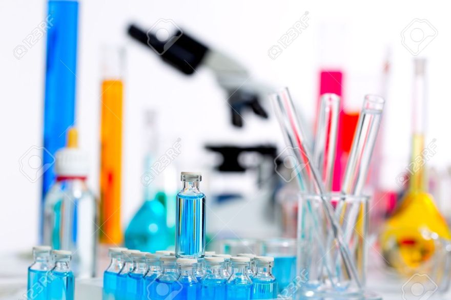 16651212-chemical-scientific-laboratory-stuff-microscope-test-tube-flask-pipette-stock-photo